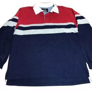 Lands' End Rugby Shirt Red Blue Gray White